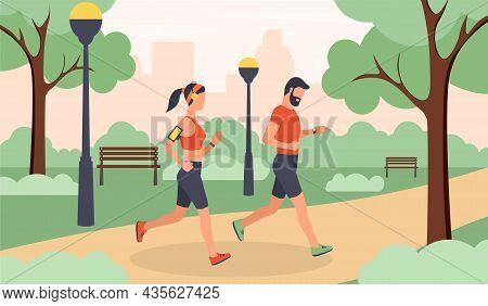 Jogging In City Park Concept. Man And Woman Engaged In Outdoor Sport. Cardio Training In Forest. Hea