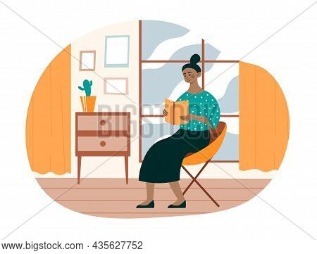 Young Woman Reads Book. Female Character Sitting On Comfortable Chair And Reading Interesting Novel.
