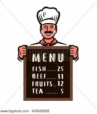 Cartoon Chef Presenting Restaurant Menu On Board. Food Concept Vector Illustration