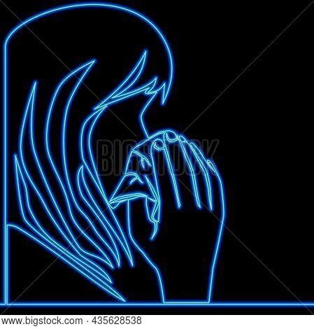 Continuous One Single Line Drawing Sick Woman Seasonal Flu Viruses Icon Neon Glow Vector Illustratio