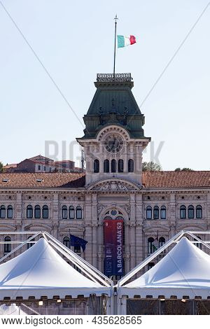 Trieste, Italy - October, 09: View Of The Facade Of The Town Hall With The Barcolana 53° Banner On O
