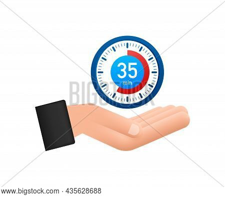 The 35 Minutes, Stopwatch With Hands Icon. Stopwatch Icon In Flat Style, Timer On White Background.