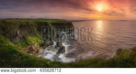 Wide Panorama With Beautiful White, Limestone Cliffs At Dramatic Sunset, Seen From Magheracross View