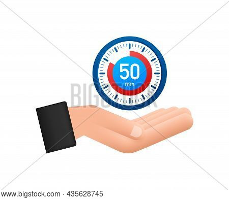 The 50 Minutes, Stopwatch With Hands Icon. Stopwatch Icon In Flat Style, Timer On White Background.