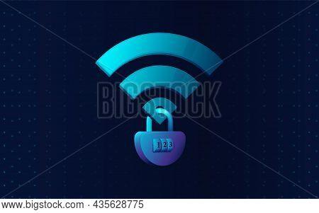 Wifi Lock Icon. Network Icon. Security Wifi Icon. Vector Illustration