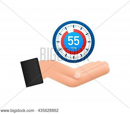 The 55 Minutes, Stopwatch Vector Hand Icon. Stopwatch Icon In Flat Style, Timer On White Background.