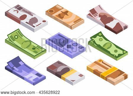 Collection Of Isometric Stacks Of Money. Currency Or Cash Icons. Bundle Of Banknotes. Stacks Of Cash