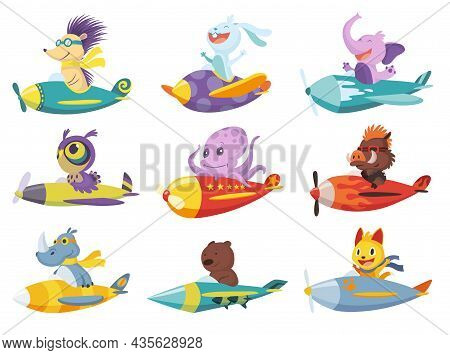 Set Of Cute Baby Animals Cat, Elephant, Bear On Airplanes. Collection Of Funny Pilots Lion, Rhinocer
