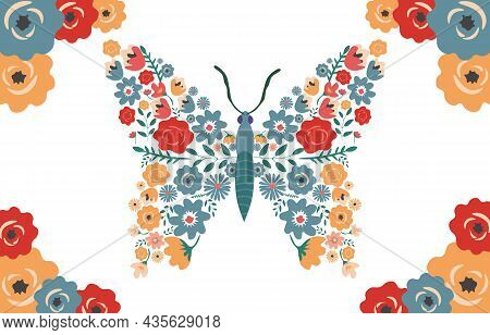 Flower Butterfly Concept. Beautiful Insect With Daisies, Roses And Other Wild Flowers. Design Elemen