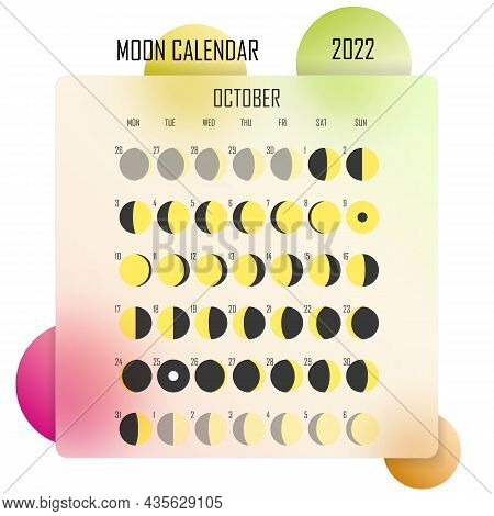 October 2022 Moon Calendar. Astrological Calendar Design. Planner. Place For Stickers. Month Cycle P
