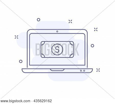 Payment Online Outline Vector Illustration Isolated On White. Laptop With Dollar Purple Line Icon Wi