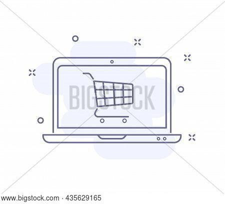 Online Purchase Outline Vector Illustration Isolated On White. Laptop With Cart Purple Line Icon Wit