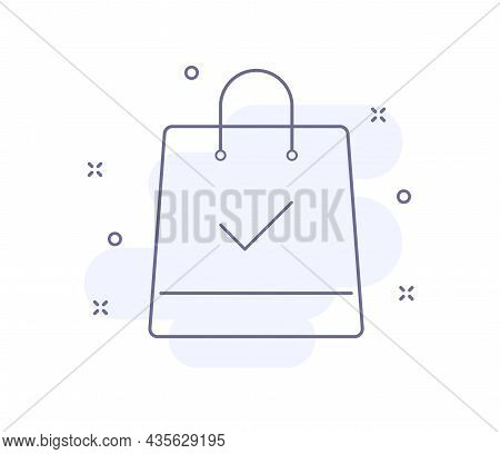 Bag With Tick Outline Vector Illustration Isolated On White. Bag With Check Mark Purple Line Icon Wi