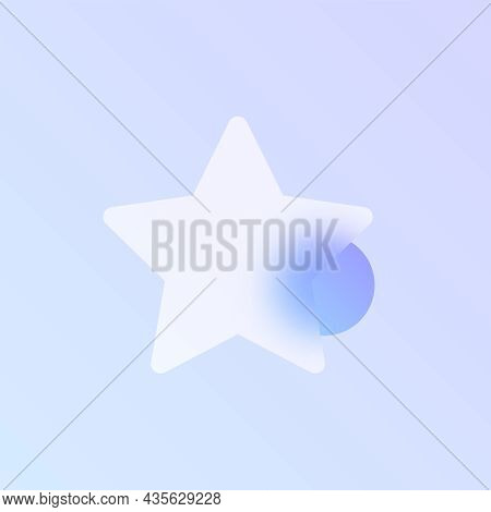 Star Glass Morphism Trendy Style Icon. Star Favourite Color Vector Icon With Blur, Transparent Glass