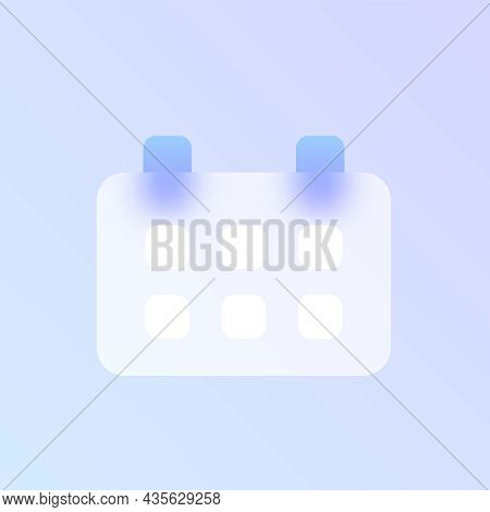 Calendar Glass Morphism Trendy Style Icon. Calendar Color Vector Icon With Blur, Transparent Glass A