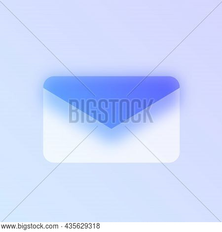 Mail Glass Morphism Trendy Style Icon. Mail Envelope Color Vector Icon With Blur, Transparent Glass