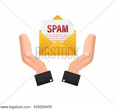 No Spam Sign In Hands. Spam Email Warning. Concept Of Virus, Piracy, Hacking And Security. Envelope