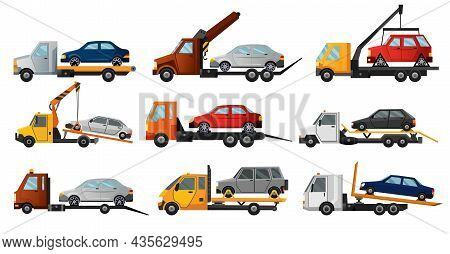 Collection Of Tow Trucks. Flat Faulty Car Loaded On A Tow Truck. Vehicle Repair Service Which Provid