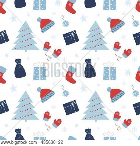 Christmas Seamless Pattern With Gifts, Christmas Tree, Ball And Snowflakes. Can Be Used For Fabric,