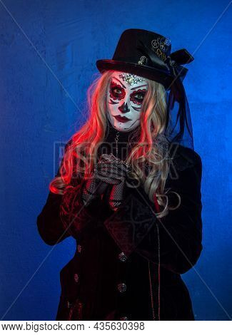 Beautiful Woman With Scary Halloween Make Up Dead Day Calavera Style