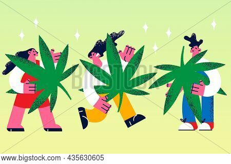 Growing Marijuana Grass Legalization Concept. Group Of Young Smiling People Cartoon Characters Stand