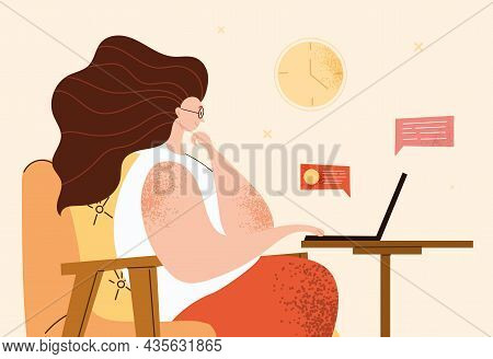Home Office Concept. Woman Sits On Chair And Communicates With Colleagues On Internet. Character Wor