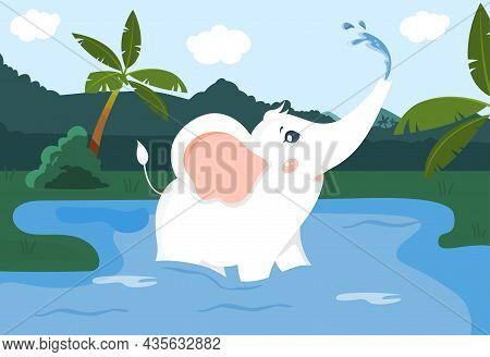 Small Elephant Swimming In Lake. Wild Animal Drinks Water And Washes. White Elephant Monitors Person