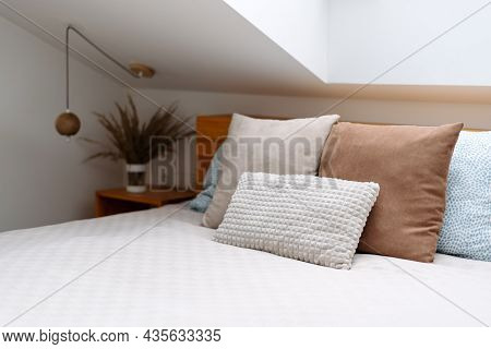 Healthy Sleep, Recreation, Relaxation Concept. Selective Focus On Orthopedic Mattress With Memory Fo