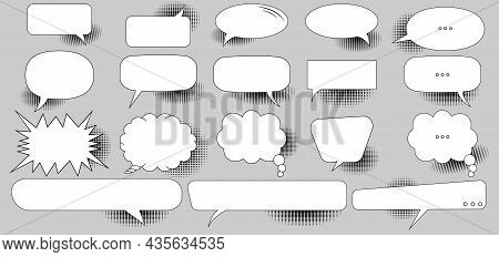 Set Of Retro Empty Comic Book Speech Bubbles With Black Halftone Shadows On A Gray Background. Empty