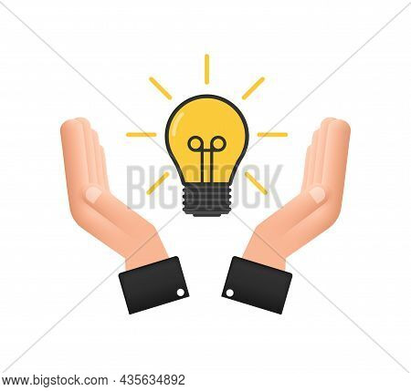 Light Bulb Icon With Hands. Lamp, Incandescent Bulb. Vector Stock Illustration.