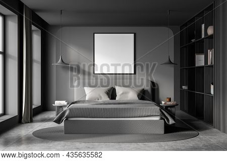 Bedroom Interior With Bed And Pillows, Concrete Floor And Bookshelf With Decoration, Front View. Moc