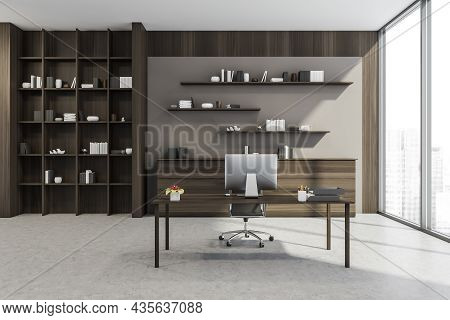 Personal Office Interior With Simple Office Desk And Furniture Set Made Of Walnut Wood, Beige Wall T