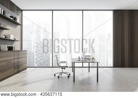 Modern Spacious Personal Office Interior With Minimalist Executive Office Desk, Dark Wood Sideboard