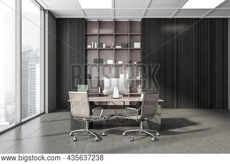 Dark Grey Panoramic Office Interior With Beige Rolling Chairs, A Wardrobe With Open Shelving And A P