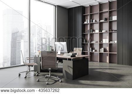 Dark Grey Panoramic Office Interior With Beige Rolling Chairs, A Cabinet With Open Shelving And A Pl