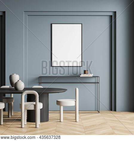 Empty White Canvas On Blue Wall Of Living Room Interior With Dark Wood Table, Chairs, Frame Sideboar