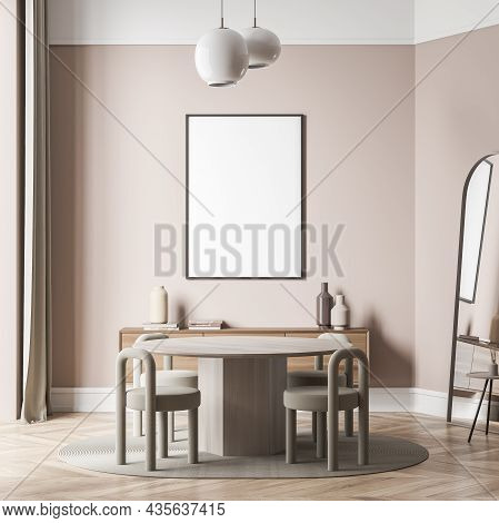 Canvas On Wall Of Light Beige Living Space Interior With Round Table, Creative Stools, Two Pendant L
