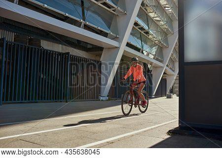 Sporty Toned Millennial Girl Biker In Helmet Sportswear Follow Healthy Lifestyle Cycle Bike Outdoors