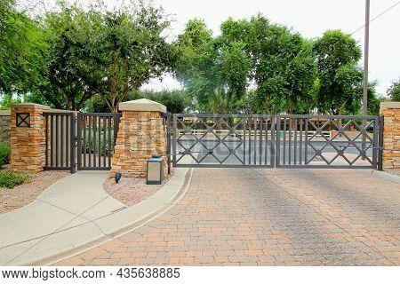 Metal Exit Vehicle Gate With Walk Through Pedestrian Access