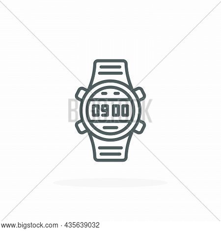 Smartwatch Icon. Editable Stroke And Pixel Perfect. Outline Style. Vector Illustration.