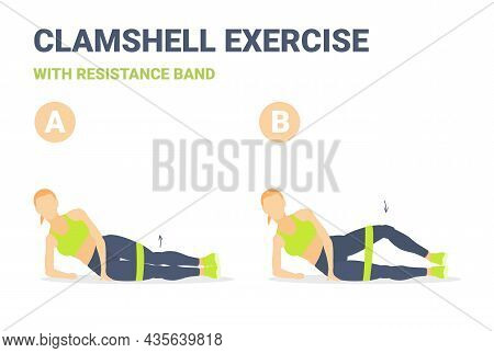 Woman Doing Clamshell With Resistance Band Exercise. Woman Hip Abduction With Rubber Loop.
