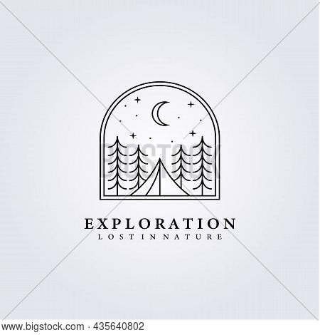 Night Tent Survive Forest Wood Logo Vector Illustration Design Line Art Tree Adventure Young Youth L