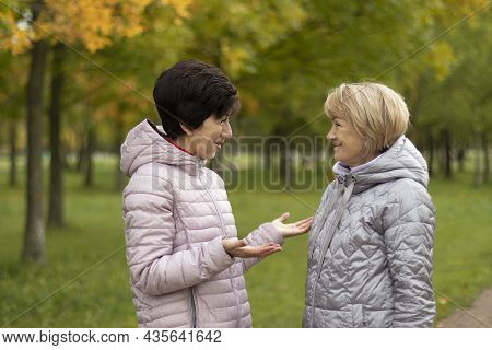 Two Adult Women, Blonde And Brunette, Talking In The Park, Meeting Girlfriends, Funny Women, Golden