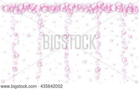 Pink Bubbles Stream. Fizzy Carbonated Drink Texture. Cherry Or Strawberry Seltzer, Beer, Soda, Cola,