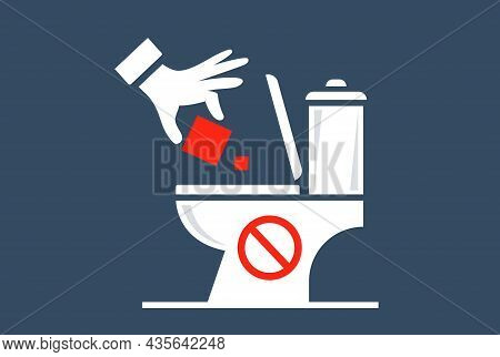 Throw Household Waste Into The Toilet. Flat Vector Illustration.
