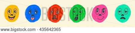 Round Abstract Comic Faces With Various Emotions. Crayon Drawing Style. Different Colorful Character