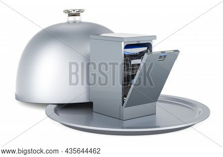 Restaurant Cloche With Dishwasher, 3d Rendering Isolated On White Background
