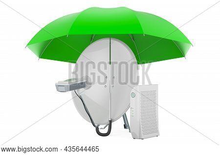 Satellite Dish Under Umbrella, 3d Rendering Isolated On White Background
