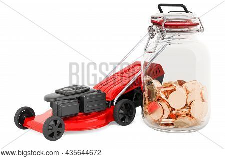 Lawn Mower With Glass Jar Full Of Golden Coins, 3d Rendering Isolated On White Background