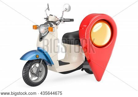 Motor Scooter With Map Pointer. 3d Rendering Isolated On White Background